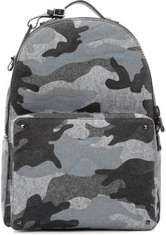 Valentino Grey Felted Camo Backpack