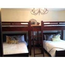 Double Twin Loft Bunks with 2 Queen Beds Below - sleeps 6 bunk Bunks, Custom Bunk Beds, Getaway Cabins, Home Remodeling, New Homes, House Rental, Bed Storage, Bed, Single Bed