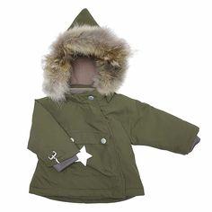 MINI A TURE Wang Fur Jacket in Olive Night