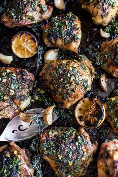 Garlic Butter Roasted Chicken Thighs with Charred Lemon Salsa Verde + Asparagus | halfbakedharvest.com @hbharvest