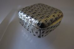 Beautiful Antique Miniature Sterling Silver Basket-Weave Solid Hinged Pillbox/ Exquisite Little Treasure Jewelry Trinket Snuff or Ring Box by MaisonettedeMadness on Etsy https://www.etsy.com/listing/227689726/beautiful-antique-miniature-sterling