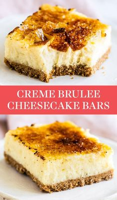 This easy Creme Brulee Cheesecake Bar recipe turns the classic French dessert into something even tastier! Graham cracker crust, vanilla bean cheesecake filling, and a bruleed sugar topping. Great for a crowd! for a crowd Creme Brulee Cheesecake Bars Creme Brulee Cheesecake Bars, Vanilla Bean Cheesecake, 9 X 13 Cheesecake Recipe, French Cheesecake, Cheescake Bars, Creme Brulee Cake, Cheesecake Crust, Chocolate Cheesecake Recipes, Desserts Français