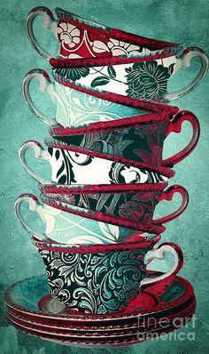 Tea Painting - Afternoon Tea Aqua by Mindy Sommers