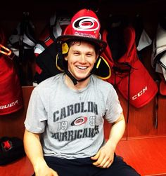 Ottawa  Jeff Skinner gets the fireman s helmet after scoring with seconds  left to tie it in regulation! 726a54a58
