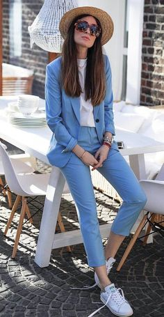 30 Best Outfit Ideas For Your Fall Inspiration casual style obsession _ hat blue suit white top sneakers . Mode Outfits, Casual Outfits, Casual Suit, Suits And Sneakers, Summer Sneakers, Blue Sneakers Outfit, White Sneakers, Blue Suit Outfit, Women's Sneakers
