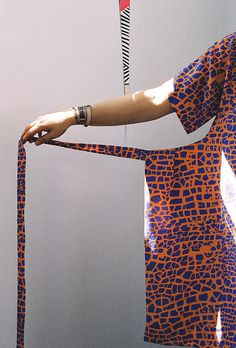ERMIE Collection 1, 2012. Photo by Kate Miss. Raku Print Apron Dress. Lauren Spencer King, model.