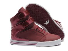 2012 Supra Shoes For Girls TK Society High Tops Dark Red White