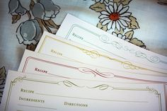 Free Printable: Elegant Recipe Cards in 4 colors (fill-in online pdf or download/print and write by hand)