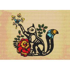 Day of the Dead CAT Dia de los Muertos - tattoo idea Cross Stitching, Cross Stitch Embroidery, Modern Embroidery, Los Muertos Tattoo, Halloween, Chesire Cat, Day Of The Dead Art, Art Textile, Modern Cross Stitch Patterns