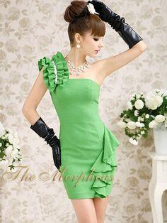 Morpheus Boutique  - Green Celebrity One Shoulder Ruffle Crystal Decor Pencil Dress