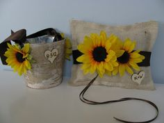 Rustic Flower Girl Basket and Burlap Ring Bearer Pillow SET Natural Birch Bark shown Sunflowers with Chalkboard Tags. $53.00, via Etsy.