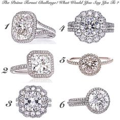 The  #PninaTornaiChallenge Comment with the number of ring you would you say YES to: 1, 2, 3, 4, 5 or 6 ?  Tell your friends what ring you love & TAG your girl friend with the number of ring you think she would say YES to!  #PninaQueenOfBling Image by: @foreverdiamondsny