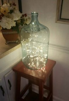 Upcycling an Old Glass Water Bottle could use as bottle of fireflies for kids room night light