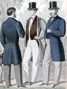 (1850 - 1870)  Full Line of Men's Early Victorian Style Clothing.  Everything a gentleman needs, from head to toe.  Hats, coats, shirts, shoes, ties, trousers and beautiful vests.  Period correct for theatrical and reenactor use.
