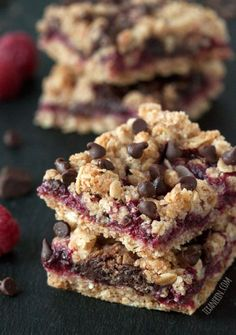 Chocolate Raspberry Oat Bars – 100% whole grain (but can also be made with all-purpose flour) with vegan and dairy-free options.