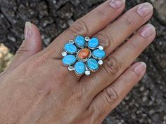 Turquoise Flowers, Turquoise Stone, Navajo Jewelry, Sleeping Beauty Turquoise, Kingman Turquoise, Beautiful Rings, Jewelry Collection, Women Jewelry, Coral