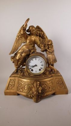 Michell Vance & Co Statue Clock With Angel & Girl 16
