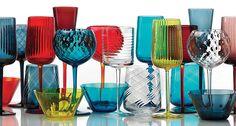 Contemporary stemware collection from NasonMoretti. Murano Glassware   Harlequin London #luxury #murano #glass #colour #stemware #tableware