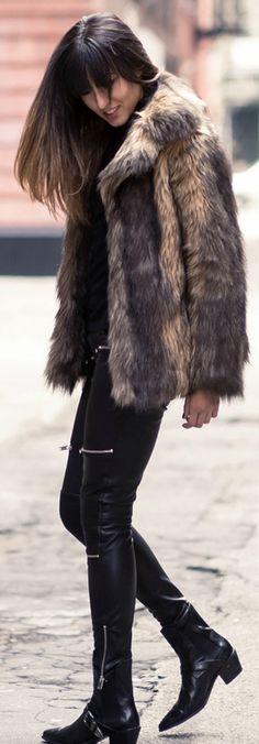 Raquel Paiva + fluffy coat outfit, + large faux fur coat + Asos + punky leather leggings + boots.   Coat: Asos, Trousers/Boots: Zara, Turtleneck: Uniqlo.