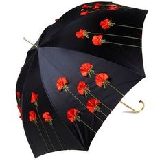 Black umbrella  with red poppies