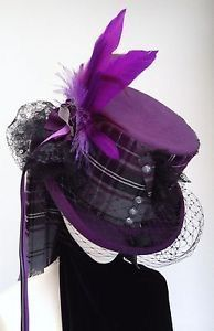 Lady McCrowdie steampunk purple neo Victorian top hat in Clothes, Shoes & Accessories, Women's Accessories, Fascinators & Headpieces Moda Steampunk, Viktorianischer Steampunk, Steampunk Wedding, Steampunk Costume, Steampunk Clothing, Steampunk Fashion, Victorian Hats, Neo Victorian, Diesel Punk