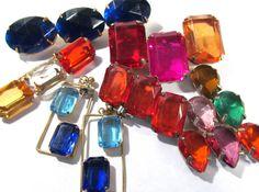 VINTAGE Rhinestone Jewelry Pins Earrings BIG Gems by punksrus