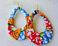 African Wax Fabric Hoop Earrings Multi Color by Khepera Adornments Diy African Jewelry, African Accessories, African Earrings, Handmade Accessories, Fabric Earrings, Diy Earrings, Earrings Handmade, Handmade Jewelry, Hoop Earrings