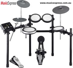 MPN: Yamaha Electronic Drum Set - QTY This Yamaha electronic drum kit includes the drum trigger module, snare pad, tom pads, hi-hat, and cymbals. E Drum Set, Acoustic Drum, Acoustic Guitars, Bass Guitars, Drum Pedal, Drum Lessons, Guitar Lessons, Racking System, Drum Kits