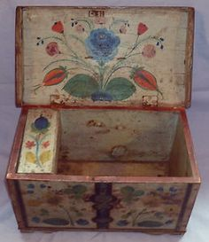 19th C Folk Art 'Pennsylvania Dutch' Painted Small Coffer C 1850