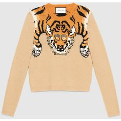 Gucci Tiger Jacquard Knit Top (13,300 MXN) ❤ liked on Polyvore featuring tops, multicolor, tops & shirts, womens ready to wear, tiger top, knit tops, colorful tops, print top and tiger print top