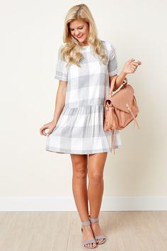 Look Your Cutest Grey Plaid Dress at reddressboutique.com