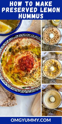 Preserved lemon hummus will amaze you and your taste buds. Take a simple can of chickpeas and turn them into a bowl of tangy, flavorful goodness. Add some toppings and not only will it look gorgeous but not a soul will know it started from a can of beans. #hummus #preservedlemons #lemongarlichummus #meyerlemons