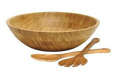 Lipper International Bamboo Wood Salad Bowl with 2 Server Utensils, Large, Diameter x Height, Set Blueberry Quinoa Salad, Spinach Strawberry Salad, Spinach Salad, Shredded Brussel Sprout Salad, Sprouts Salad, Brussels Sprouts, Vegetarian Broccoli Salad, Lipper International, Vegan Curry