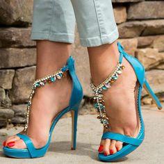#FSJshoes - #FSJ Shoes Women's Blue Rhinestone T-Strap Sandals Stilettos  Heels Shoes - AdoreWe.com