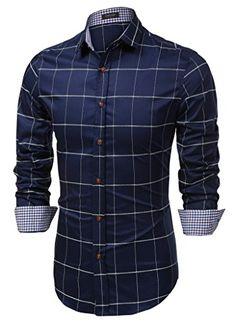 Coofandy Men's Fashion Long Sleeve Plaid Button Down Casual Shirts Blue Large Casual Button Down Shirts, Casual Shirts, Plaid Shirts, Men's Shirts, Tartan Shirt, Plaid Dress, Slim Fit Dress Shirts, Shirt Dress, Textiles