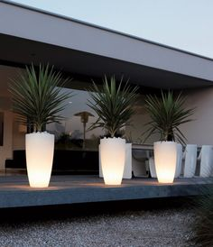 Le pot lumineux en 60 images Exterior lighting using lighted containers enhances the walkway. Backyard Lighting, Outdoor Lighting, Pathway Lighting, Lighting Ideas, Funky Lighting, Backyard Patio, Backyard Landscaping, Modern Landscaping, Landscape Design