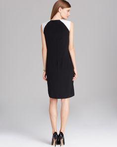 Magaschoni Silk Color Block Shift Dress