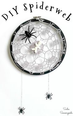 Upcycle some lace doilies and embroidery hoops into spiderweb decor or a Halloween spider web - Scary Halloween decorations that are so easy to make! Halloween Patterns, Halloween Projects, Halloween Crafts, Halloween Goodies, Halloween Stuff, Halloween Ideas, Halloween Party, Spider Web Decoration, Homemade Halloween Decorations