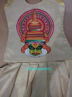 Saree Painting, Kerala Mural Painting, Dress Painting, Fabric Painting, Mural Art, Murals, Kathakali Face, Fabric Paint Designs, Hand Painted Fabric
