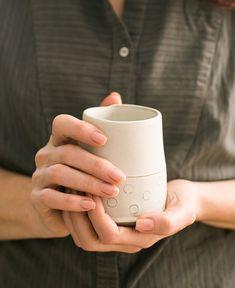 Ceramic Espresso Cups ,  set of two unique espresso cup ,coffee lovers gift , Modern Espresso Cups in polka dots Pattern ,