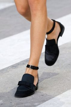 Chanel black ankle strap loafers