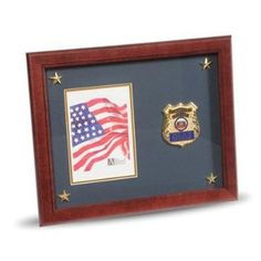 Police Department Medallion Picture Frame with Stars Hand Made By Veterans