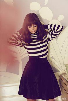 Nina Dobrev Who What Wear Exclusive  Credits: Saint Laurent Striped Turtleneck ($1350); Jill Stuart skirt.