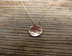 Gold coin necklace. Hammered dot disk gold filled by RimmaJewelry, $24.99