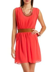 faux leather & chiffon sleeveless dress