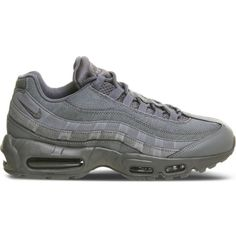 Nike Air max 95 suede and mesh trainers ($121) ❤ liked on Polyvore featuring men's fashion, men's shoes, men's sneakers, cool grey mono, mens grey suede shoes, mens grey shoes, mens suede shoes, mens grey sneakers and nike mens sneakers