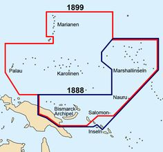Borders of German New Guinea before (in blue) and after (in red) the 1899 German-Spanish treaty