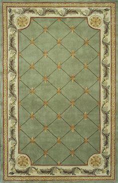 Traditional Jewel Sage Fleur-De-Lis Hand Tufted Area Rug - KAS Oriental Rugs | Rugs by SelectRugs.com