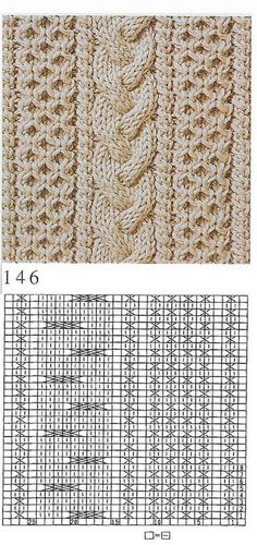 Aran knitting: braided cable flanked by honeycomb panels ~~ Chart
