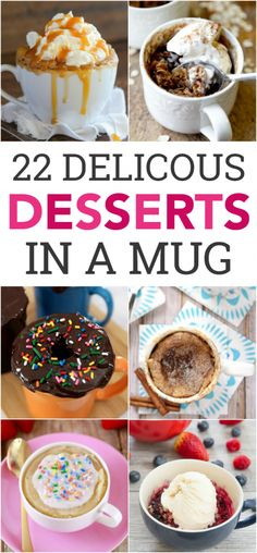 Desserts in a mug are my new favorite thing! These 22 Mug Cake Recipes are quick, easy, and makes very little mess. 22 Mug Cake Recipes For most of these, everything gets poured and mixed right Microwave Mug Recipes, Mug Cake Microwave, Baking Recipes, Cake Recipes, Easy Microwave Desserts, Microwave Baking, Mug Dessert Recipes, Microwave Meals, Steak Recipes